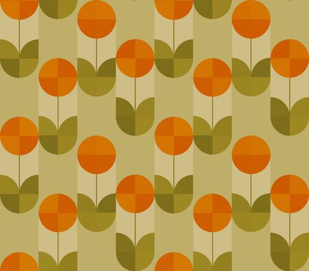 spring tulip in modern geometry style. floral seamless pattern for background, wrap, fabric, textile, wrap, surface, web and print design.  nostalgic vintage 60s vibes and colors repeatable motif Illustration