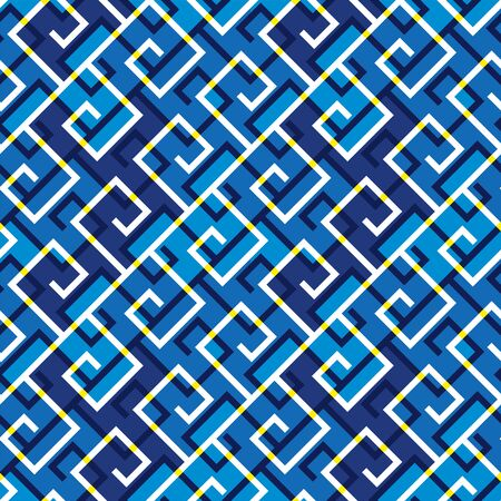 blue sea wave abstract ornamental seamless pattern for background, wrap, fabric, textile, wrap, surface, web and print design. digital style diagonal composition repeatable motif Illustration