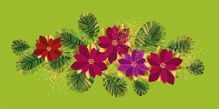 Colorful abstract xmas poinsettia for card, header, invitation, poster, social media, post publication. Christmas elements composition with red and pink flowers.