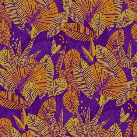 Vintage color bright summer lush nature seamless pattern for background, wrap, fabric, textile, wrap, surface, web and print design. Abstract geometric modern tropical repeatable motif