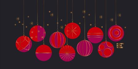 New year greeting card or invitation in red and pink color. Elegant formal style Christmas balls for office and business vibes projects. xmas decor with mid0century vintage vibes.  イラスト・ベクター素材