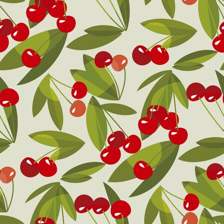 Red summer cherry seamless pattern for background, fabric, textile, wrap, surface, web and print design. vector tile rapport