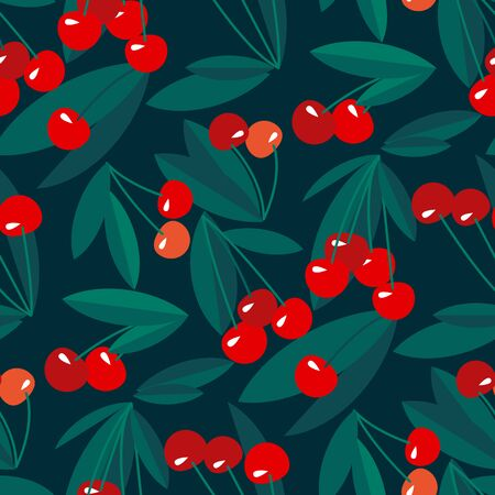 Red summer cherry on black background seamless pattern for background, fabric, textile, wrap, surface, web and print design. vector tile rapport