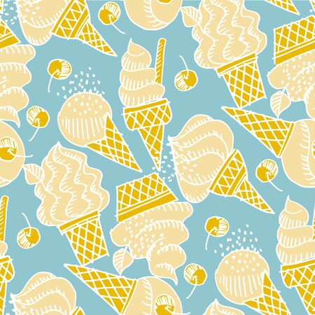 Cute assorted vanilla ice cream in shabby doodle art style vector tile rapport. Fun summer vibes gelato tile rapport.