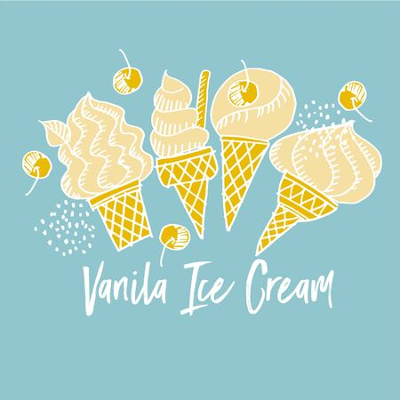Cute assorted vanilla ice cream in shabby doodle art style. Summer mood print for card, header, invitation, poster, social media, post publication.