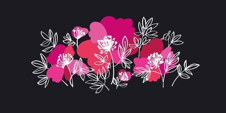 Bold pink peony flowers decorative element for card, header, invitation, poster, social media, post publication. Vector floral motif.