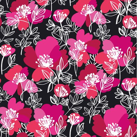 Decorative modern sketch peony flowers seamless pattern for background, fabric, textile, wrap, surface, web and print design. Abstract floral silhouette rapport in black and pink. 向量圖像