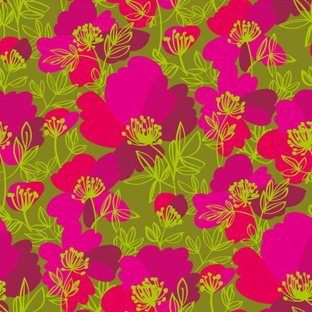Summer wild meadow flowers seamless pattern for background, fabric, textile, wrap, surface, web and print design. Decorative abstract floral silhouette rapport in green and pink. 向量圖像