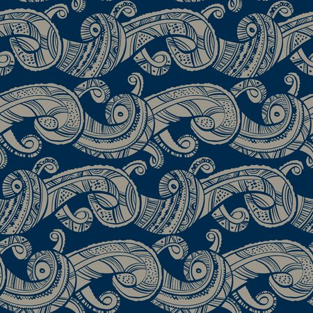 Decorative sea waves medieval style seamless pattern for background, fabric, textile, wrap, surface, web and print design. Folk ethnic vibes water rapport in blue and beige colors.