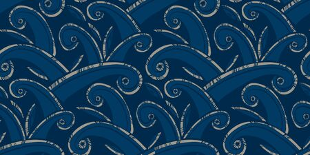 Huge ocean waves waves ethnic style seamless pattern for background, fabric, textile, wrap, surface, web and print design. Folk vibes rapport in blue hues.