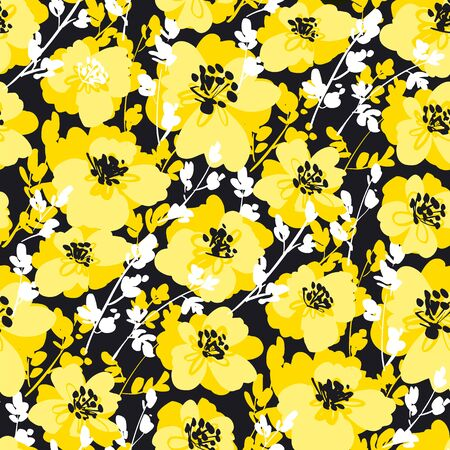 Black and yellow fun floral seamless pattern for fabric, textile, web post and print wrap design. Abstract flower vector tile background. 向量圖像