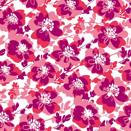Active dynamic shabby pink floral seamless pattern for fabric, textile, web post and print wrap design. Abstract flower blossom vector tile background.
