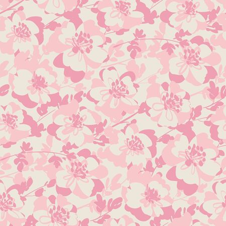 Tender elegant pastel pink color floral seamless pattern for fabric, textile, web post and print wrap design. Abstract flower blossom vector tile background.
