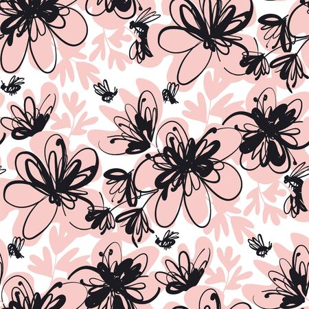 Elegant french style hand drawn flowers vector tile rapport. Tender beige and bold black floral rapport for textile, background, web, post, ad.  일러스트