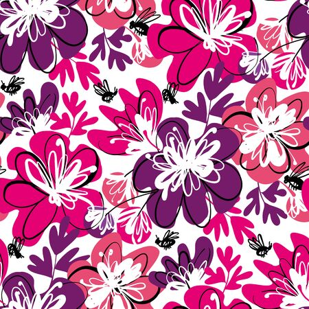 Fun pink and violet abstract floral seamless pattern for background, fabric, textile, wrap, surface, web and print design. Flower vector background, summer blossom rapport