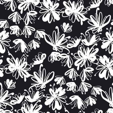 Abstract laconic black and white floral seamless pattern for background, fabric, textile, wrap, surface, web and print design. Flower vector background, meadow blossom rapport