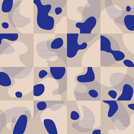 Elegant blue and baige modern geometric seamless pattern for background, fabric, textile, wrap, surface, web and print design. Ilustrace