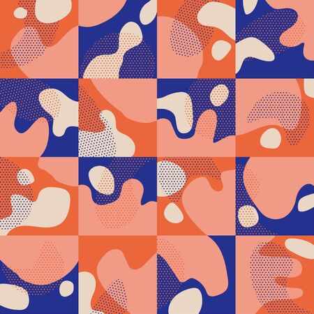 Vivid coral and blue plaid and liquid shapes seamless pattern for background, fabric, textile, wrap, surface, web and print design. Abstract geometric tile rapport. Ilustração