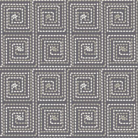 Folk peasant style rug seamless pattern for background, fabric, textile, wrap, surface, web and print design. Sea or wheat grains tile rapport in square shaped lines.