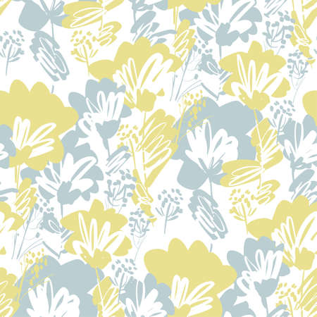 Pale green and gray wild flowers seamless pattern for background, fabric, textile, wrap, surface, web and print design. Decorative hand drawn abstract floral rapport in pastel colors. 向量圖像