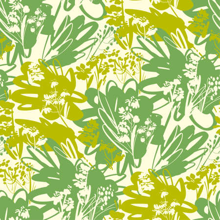 Green hues grass and wild flowers seamless pattern for background, fabric, textile, wrap, surface, web and print design. Decorative hand drawn abstract floral rapport in summer colors. Ilustrace