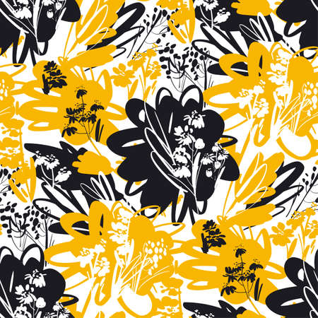 Hot yellow and black summer mood floral seamless pattern for background, fabric, textile, wrap, surface, web and print design. Decorative hand drawn abstract flowers.