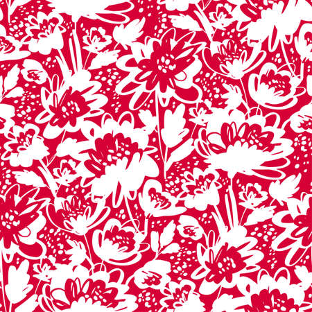 Laconic one-color hand drawn brush stroke floral seamless pattern for background, fabric, textile, wrap, surface, web and print design. Red abstract flowers.