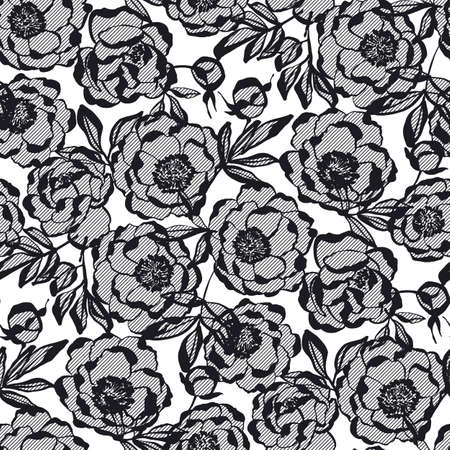 Elegant lace style peony flowers seamless pattern for background, fabric, textile, wrap, surface, web and print design. Decorative abstract silhouette floral rapport in black and white.