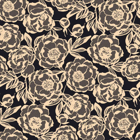 Luxury peony floral lace seamless pattern for background, fabric, textile, wrap, surface, web and print design.