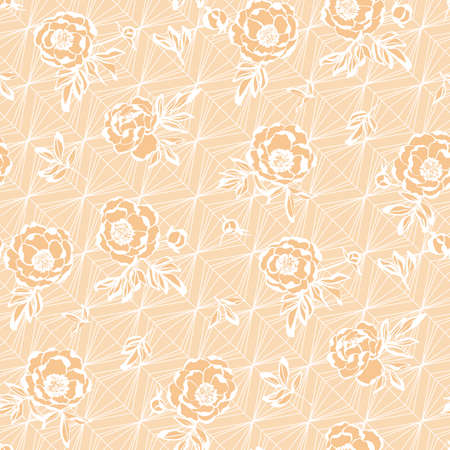 Pastel modern peony floral lace seamless pattern for background, fabric, textile, wrap, surface, web and print design. 向量圖像
