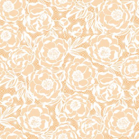 Elegant beige on white wedding floral vector seamless pattern for background, fabric, textile, wrap, surface, web and print design.