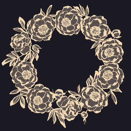 Elegant beige on black lace flowers wreath vector element for card, header, invitation, poster, social media, post publication.