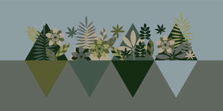 Khaki green geometric style flora horizontal vector. Geometric concept vector camouflage foliage. Vektorové ilustrace