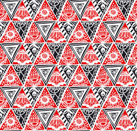 Traditional folk red and black floral seamless pattern for background, fabric, textile, wrap, surface, web and print design. Textile vector tile rapport with folk vibes floral elements.