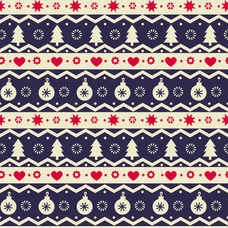 Christmas love and celebration geometric seamless pattern for background, fabric, textile, wrap, surface, web and print design. Textile traditional vector tile rapport with Scandinavian winter elements. 일러스트