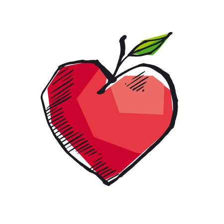 Abstract heart shape apple in sketch style. for card, header, invitation, poster, social media, post publication.