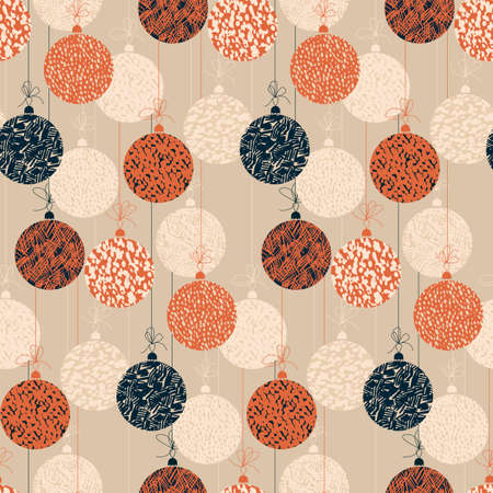 Christmas balls in orange and blue color seamless pattern for background, fabric, textile, wrap, surface, web and print design. Xmas decoration in hand drawn style for textile and surface design. vector tile rapport