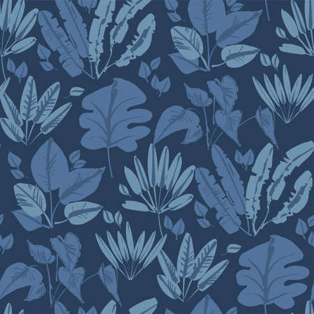 Shabby loose deep blue tropical foliage seamless pattern for background, fabric, textile, wrap, surface, web and print design. Exotic nature leaves textile in arineblue color. 일러스트