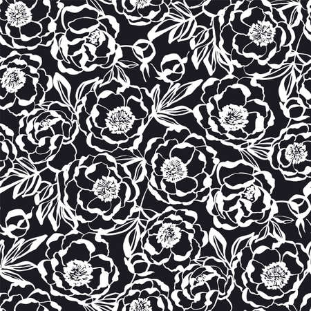 Elegant BW peony flowers seamless pattern for background, fabric, textile, wrap, surface, web and print design. Black and white colors hand drawn flowers textile rapport.