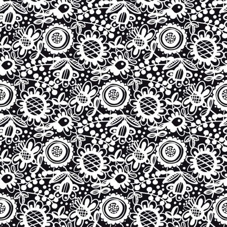 Naive folk style flowers seamless pattern for background, fabric, textile, wrap, surface, web and print design. Black and white colors hand drawn lace flowers textile rapport.