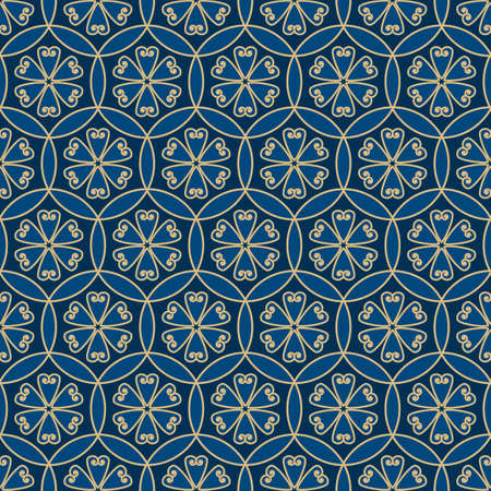 Classic blue and gold floral geometric seamless pattern for background, fabric, textile, wrap, surface, web and print design. Textile vector tile rapport with abstract decorative flowers.