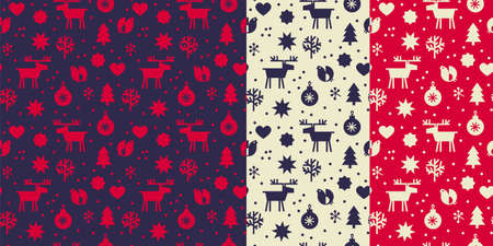 Laconic nordic vibes modern Xmas geometric seamless pattern for background, fabric, textile, wrap, surface, web and print design. Textile simple vector tile rapport with winter elements.