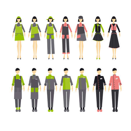 Cafe staff clothing uniform design set. Design elements and template for presentation. Woman and mens wearing for work. 일러스트