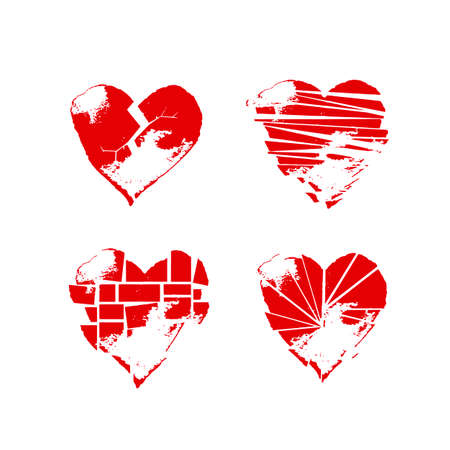 Red grange shabby broken heart drawings set for web banners, posters, cards, wallpapers, backdrops, web and print projects.