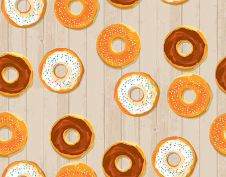 Sun natural color donut sketch seamless pattern for background, fabric, textile, wrap, surface, web and print design. Textile vector tile rapport with pastry dessert.
