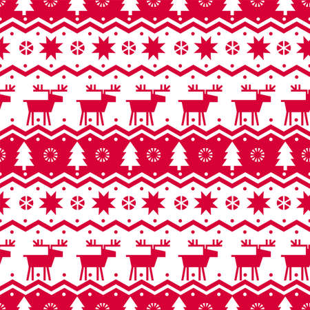 Red dear classic Christmas geometric seamless pattern for background, fabric, textile, wrap, surface, web and print design. Textile laconic vector tile rapport with winter elements.