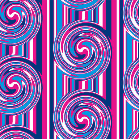 Fun bright bold color whirlpool seamless pattern for background, fabric, textile, wrap, surface, web and print design. Textile vector tile rapport with retro disco vibes
