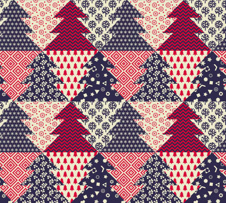 Sophisticated winter holiday seamless pattern for background, fabric, textile, wrap, surface, web and print design. Christmas textile with xmas tree. vector tile rapport.