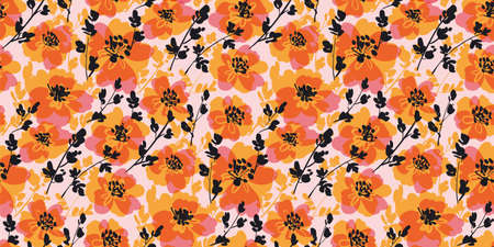 Autumn orange flowers seamless pattern for background, fabric, textile, wrap, surface, web and print design. Fall colors hand drawn flowers textile rapport.