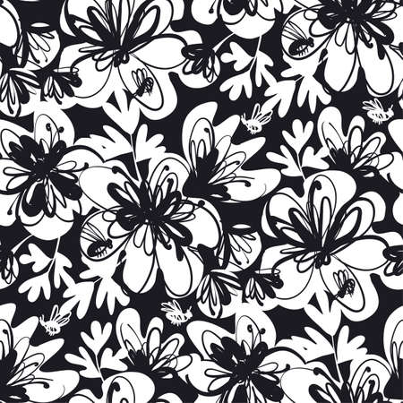 Shabby brush stroke abstract flowers seamless pattern for background, fabric, textile, wrap, surface, web and print design. Black and white colors hand drawn floral textile rapport. 일러스트